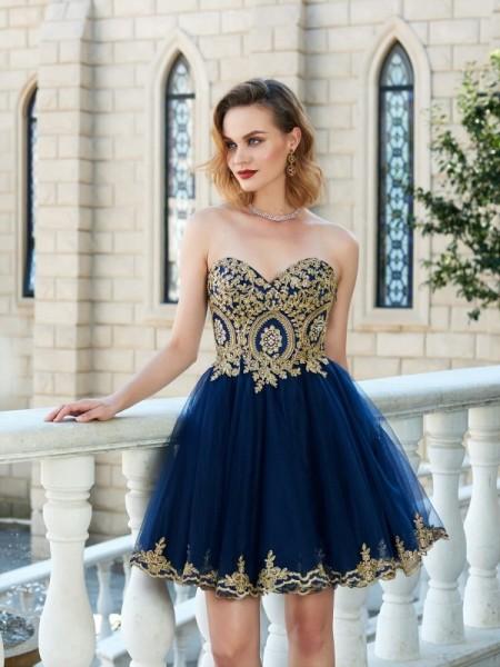 A-Line/Princess Sweetheart Sleeveless Applique Short/Mini Net Dresses