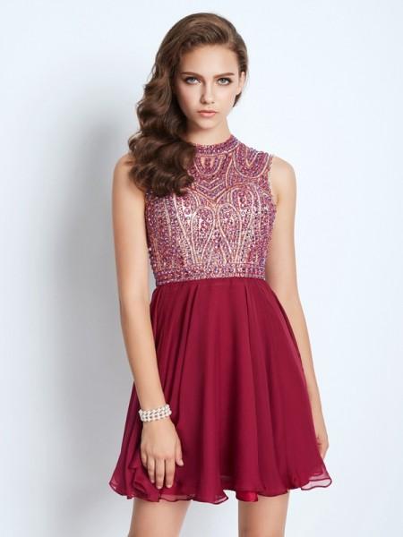 A-Line/Princess Jewel Sleeveless Chiffon Beading Short/Mini Dresses