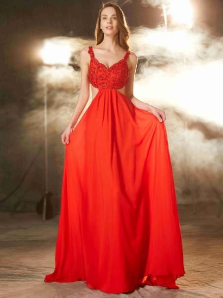 A-Line/Princess Straps Sleeveless Sweep Train Applique Chiffon Dresses