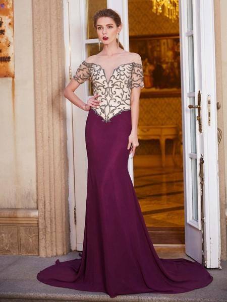 Sheath/Column Sheer Neck Short Sleeves Court Train Beading Chiffon Dresses