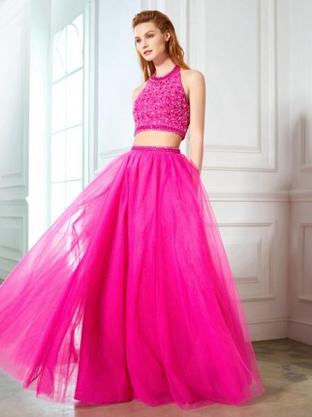 A-Line/Princess Halter Beading Sleeveless Net Floor-Length Two Piece Dresses