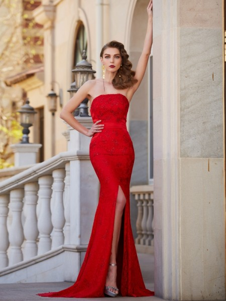 Trumpet/Mermaid Strapless Sleeveless Sweep/Brush Train Beading Satin Dresses
