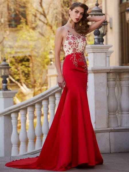 Trumpet/Mermaid Sheer Neck Sleeveless Court Train Applique Stain Dresses