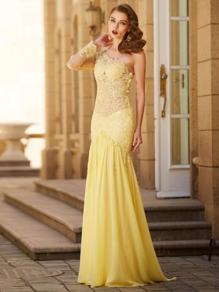 Sheath/Column One-Shoulder Lace Long Sleeves Sweep/Brush Train Chiffon Dresses