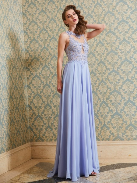 A-Line/Princess Scoop Sleeveless Floor-Length Applique Chiffon Dresses