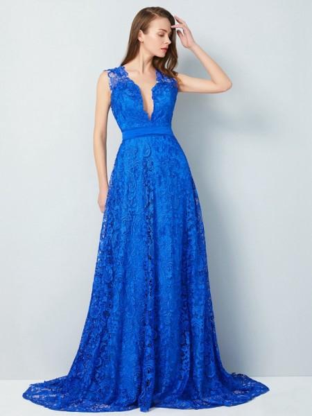 A-Line/Princess V-neck Sleeveless Sweep/Brush Train Bowknot Lace Dresses