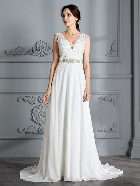 A-Line/Princess Sleeveless V-neck Sweep/Brush Train Chiffon Wedding Dresses