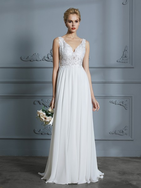 f339145296b6c A-Line/Princess Sleeveless V-neck Sweep/Brush Train Chiffon Wedding Dresses