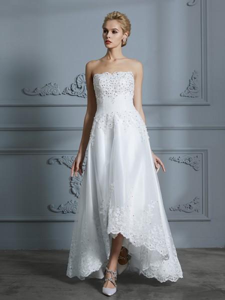 A-Line/Princess Sweetheart Sleeveless Beading Asymmetrical Tulle Wedding Dresses