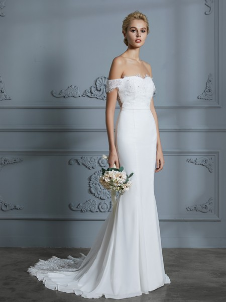 Trumpet/Mermaid Off-the-Shoulder Sleeveless Lace Chiffon Sweep/Brush Train Wedding Dresses