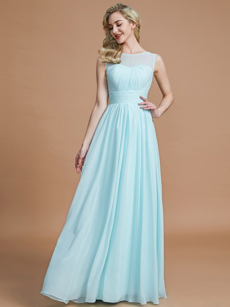 A-Line/Princess Scoop Sleeveless Floor-Length Chiffon Bridesmaid Dresses