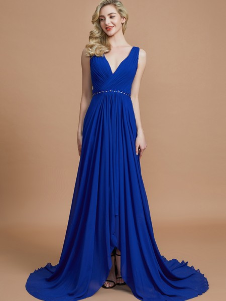 A-Line/Princess Sleeveless V-neck Chiffon Sweep/Brush Train Bridesmaid Dresses