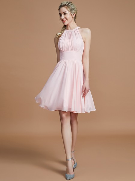 A-Line/Princess Chiffon Knee-Length Sleeveless Scoop Bridesmaid Dresses