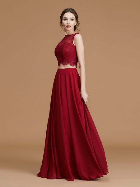 A-Line/Princess Bateau Sleeveless Floor-Length Lace Chiffon Bridesmaid Dresses