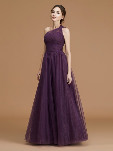 A-Line/Princess One-Shoulder Sleeveless Floor-Length Ruched Tulle Bridesmaid Dresses
