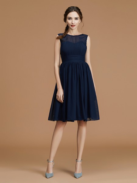 A-Line/Princess Bateau Sleeveless Short/Mini Ruffles Chiffon Bridesmaid Dresses