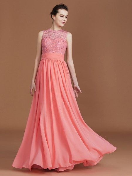 A-Line/Princess Jewel Sleeveless Lace Floor-Length Chiffon Bridesmaid Dresses