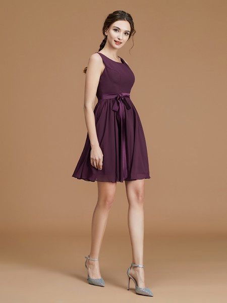 A-Line/Princess Bateau Sleeveless Short/Mini Sash/Ribbon/Belt Chiffon Bridesmaid Dresses