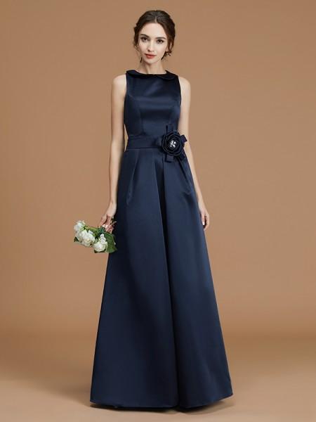 A-Line/Princess Bateau Sleeveless Floor-Length Hand-Made Flower Satin Bridesmaid Dresses