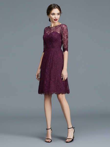 A-Line/Princess Bateau 1/2 Sleeves Knee-Length Lace Satin Bridesmaid Dresses