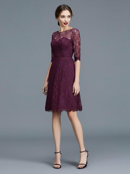 A-Line/Princess Bateau 1/2 Sleeves Knee-Length Lace Satin Bridesmaid Dresses
