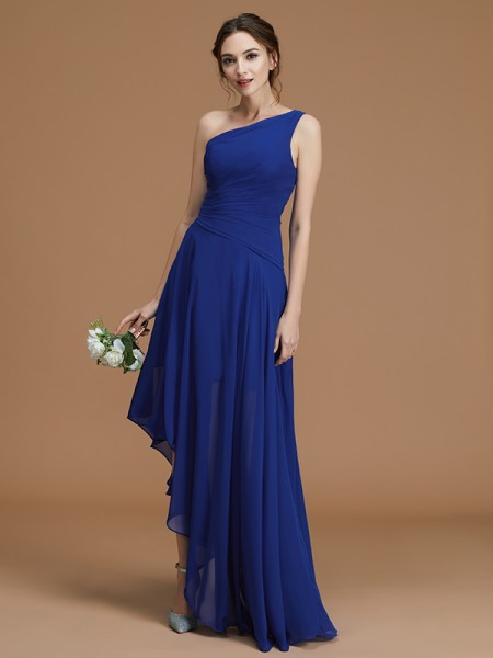A-Line/Princess One-Shoulder Sleeveless Asymmetrical Ruffles Chiffon Bridesmaid Dresses
