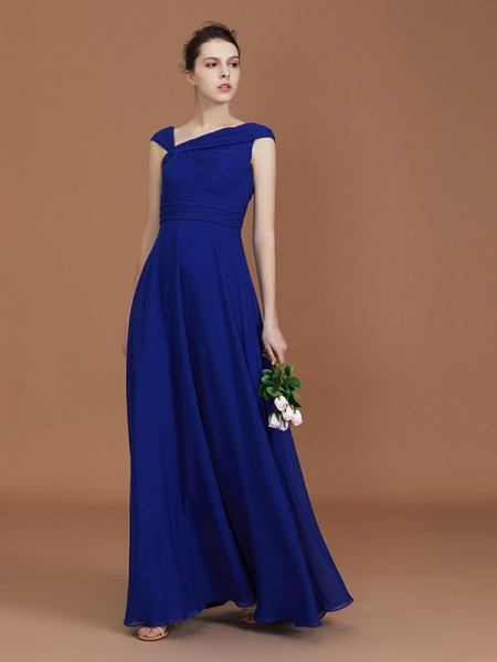 A-Line/Princess V-neck Sleeveless Floor-Length Chiffon Ruffles Bridesmaid Dresses