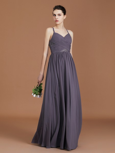 A-Line/Princess Lace Spaghetti Straps Sleeveless Floor-Length Chiffon Bridesmaid Dress