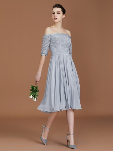 A-Line/Princess Off-the-Shoulder Short Sleeves Lace Tea-Length Chiffon Bridesmaid Dress