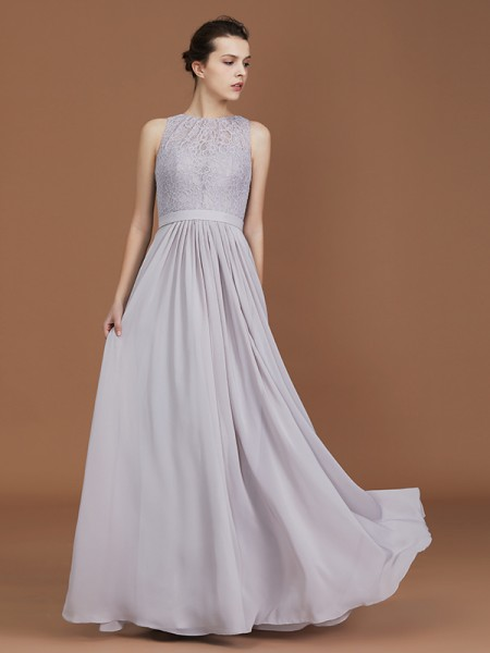 A-Line/Princess Scoop Lace Floor-Length Ruched Chiffon Bridesmaid Dress