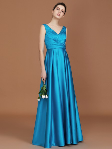 A-Line/Princess V-neck Sleeveless Floor-Length Ruffles Satin Bridesmaid Dress