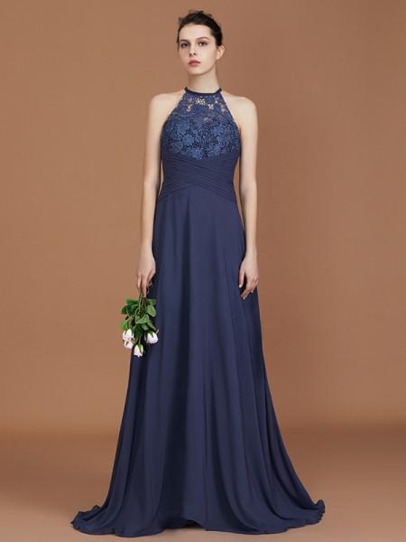 A-Line/Princess Scoop Sleeveless Sweep Train Chiffon Lace Bridesmaid Dress