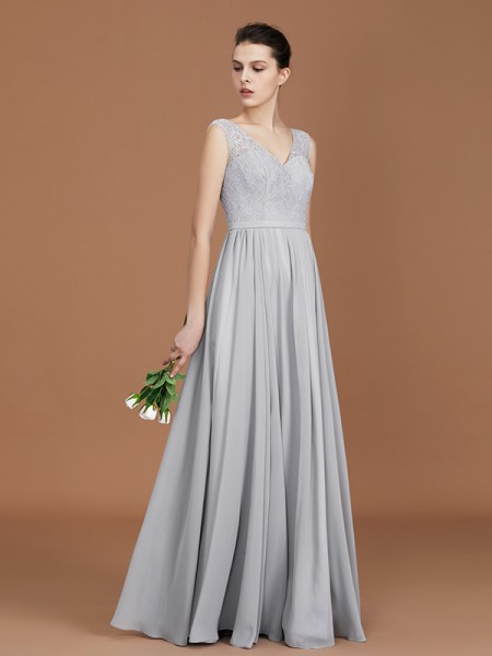 A-Line/Princess V-neck Sleeveless Floor-Length Chiffon Lace Bridesmaid Dress