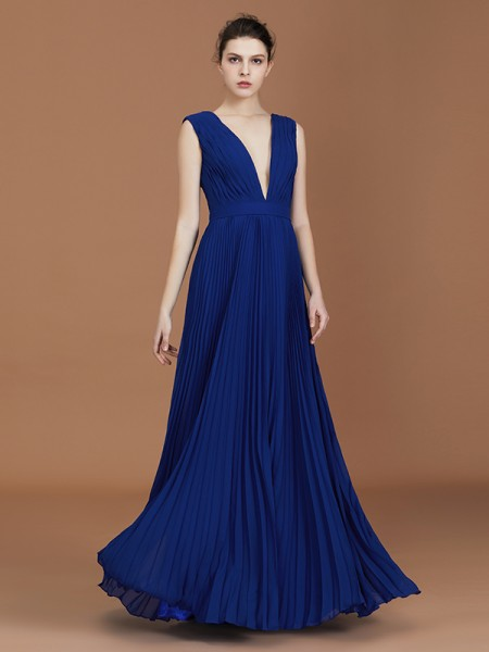 A-Line/Princess V-neck Sleeveless Pleated Floor-Length Chiffon Bridesmaid Dress