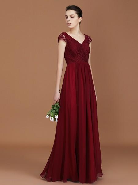 A-Line/Princess Lace Short Sleeves Chiffon Ruched V-neck Floor-Length Bridesmaid Dresses