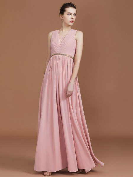 A-Line/Princess Lace Sleeveless Floor-Length Chiffon Ruched V-neck Bridesmaid Dresses