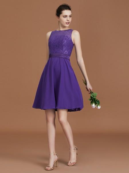 A-Line/Princess Lace Knee-Length Sleeveless Bateau Chiffon Bridesmaid Dresses