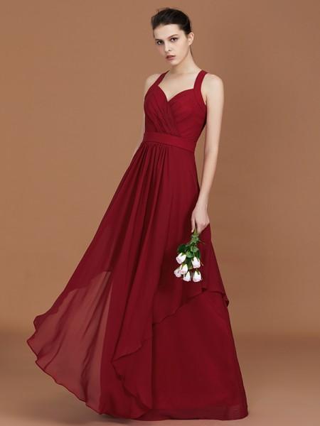 A-Line/Princess Straps Chiffon Ruched Floor-Length Sleeveless Bridesmaid Dresses