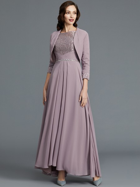 A-Line/Princess 1/2 Sleeves Scoop Asymmetrical Chiffon Mother of the Bride Dresses