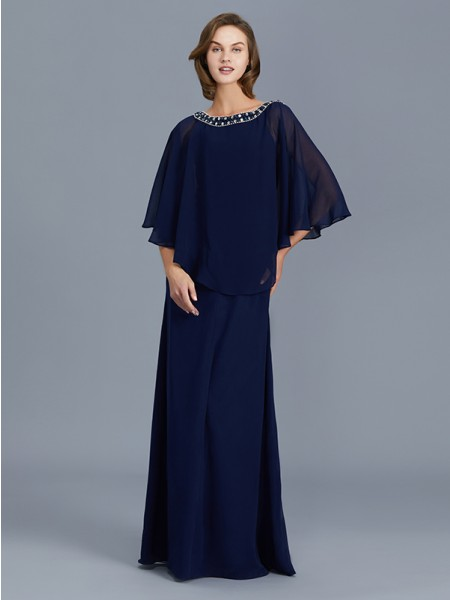 Sheath/Column Scoop Beading Long Sleeves Chiffon Floor-Length Mother of the Bride Dresses
