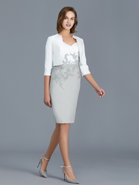 Sheath/Column V-neck 1/2 Sleeves Ruffles Chiffon Knee-Length Mother of the Bride Dresses