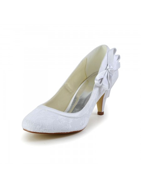 Women's Amazing Satin Closed Toe Cone Heel White Wedding Shoes With Bowknot