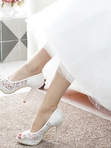 Women's Lace Peep Toe Stiletto Heel High Heels