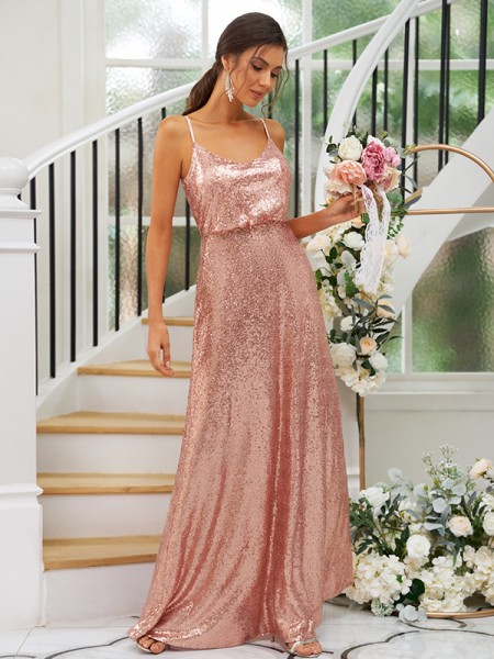 A-Line/Princess Sequins Ruched Straps Sleeveless Floor-Length Bridesmaid Dresses