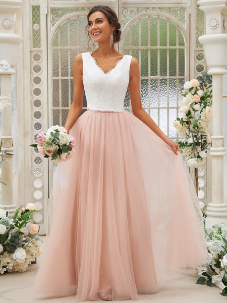 A-Line/Princess Tulle Lace V-neck Sleeveless Floor-Length Bridesmaid Dresses
