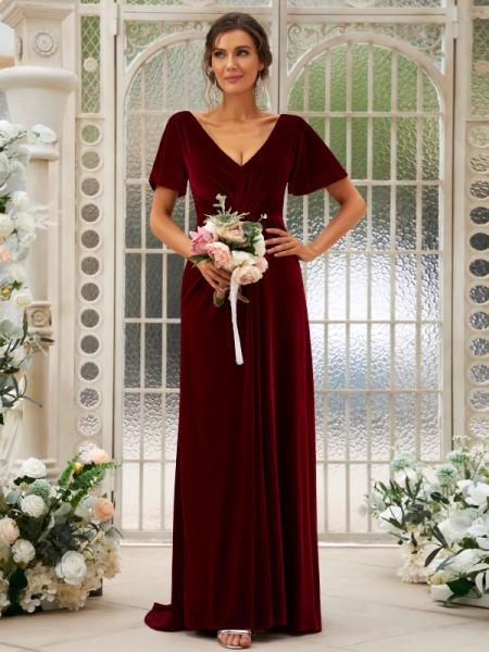 A-Line/Princess Velvet Ruched V-neck Short Sleeves Sweep/Brush Train Bridesmaid Dresses