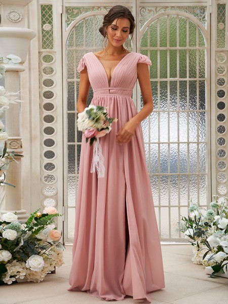 A-Line/Princess Chiffon Ruffles V-neck Sleeveless Sweep/Brush Train Bridesmaid Dresses