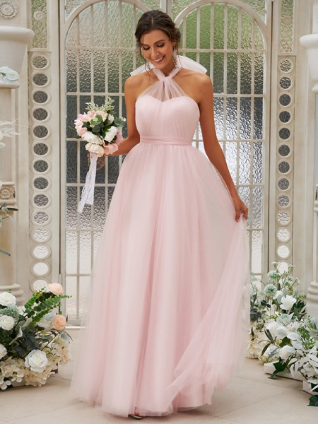 A-Line/Princess Tulle Ruffles Halter Sleeveless Floor-Length Bridesmaid Dresses