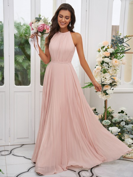 A-Line/Princess Chiffon Ruffles Halter Sleeveless Floor-Length Bridesmaid Dresses