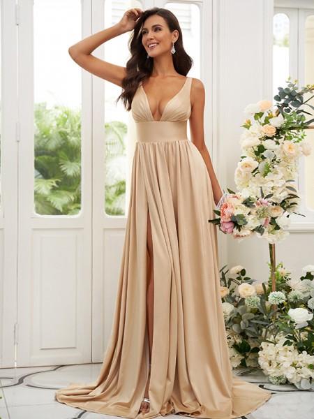 A-Line/Princess Jersey Ruffles V-neck Sleeveless Sweep/Brush Train Bridesmaid Dresses
